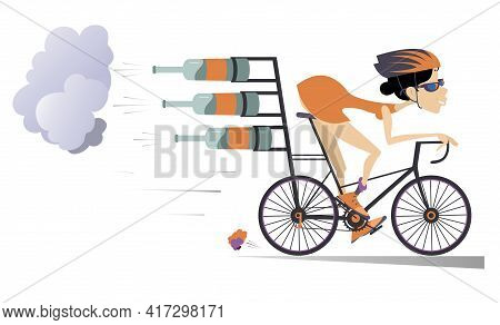 Cartoon Young Woman Rides A Bike Illustration.  Smiling Woman In Helmet And Sunglasses On The Bike T