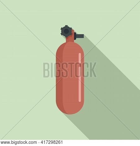 Oxygen Tank Icon. Flat Illustration Of Oxygen Tank Vector Icon For Web Design