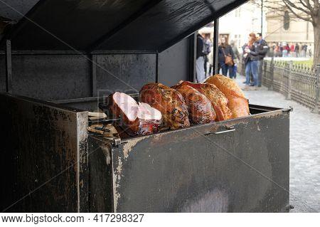 Roasted Pork Ham Shop On Prague City Center, Street Food Preparation