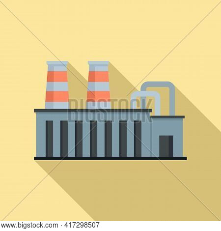 Steel Factory Icon. Flat Illustration Of Steel Factory Vector Icon For Web Design