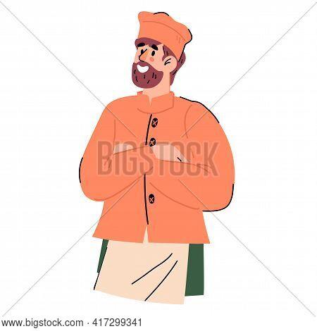 Half-portrait Of Confident Bearded Restaurant Chief Cook, Cartoon Flat Vector Isolated.