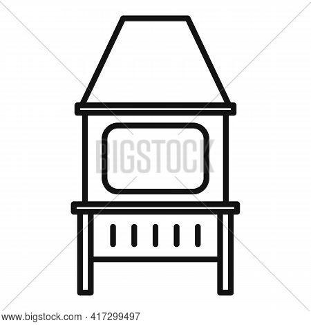 Blacksmith Oven Icon. Outline Blacksmith Oven Vector Icon For Web Design Isolated On White Backgroun