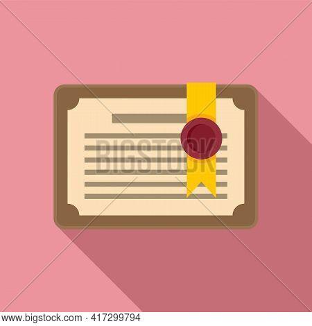Attestation Diploma Icon. Flat Illustration Of Attestation Diploma Vector Icon For Web Design