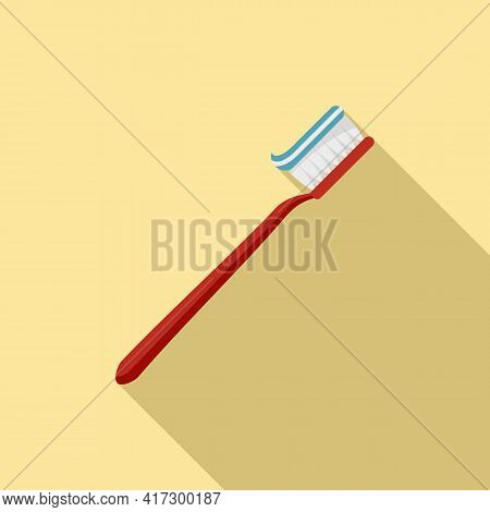 Toothpaste On Toothbrush Icon. Flat Illustration Of Toothpaste On Toothbrush Vector Icon For Web Des