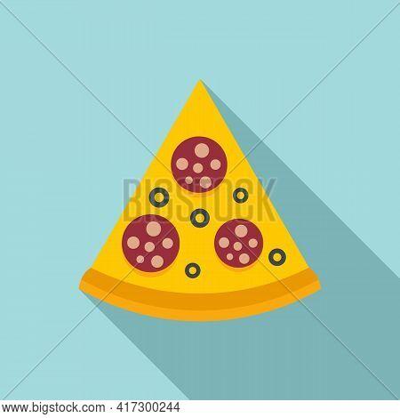Pizza Slice Icon. Flat Illustration Of Pizza Slice Vector Icon For Web Design