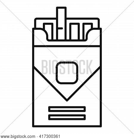 Pack Of Cigarettes Icon. Outline Pack Of Cigarettes Vector Icon For Web Design Isolated On White Bac