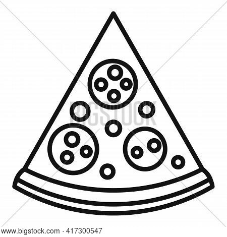 Pizza Slice Icon. Outline Pizza Slice Vector Icon For Web Design Isolated On White Background