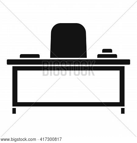 Boss Work Table Icon. Simple Illustration Of Boss Work Table Vector Icon For Web Design Isolated On