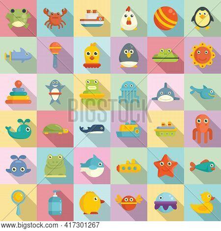 Bath Toys Icons Set. Flat Set Of Bath Toys Vector Icons For Web Design