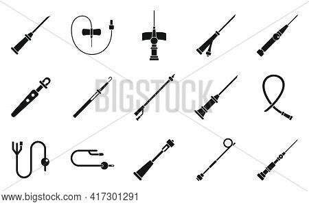 Catheter Icons Set. Simple Set Of Catheter Vector Icons For Web Design On White Background
