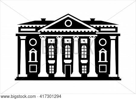Palace, Courthouse, Theater, Parliament Or Museum. Black And White Icon. Classicism. The Facade Of A