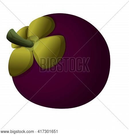 Raw Mangosteen Icon. Cartoon Of Raw Mangosteen Vector Icon For Web Design Isolated On White Backgrou