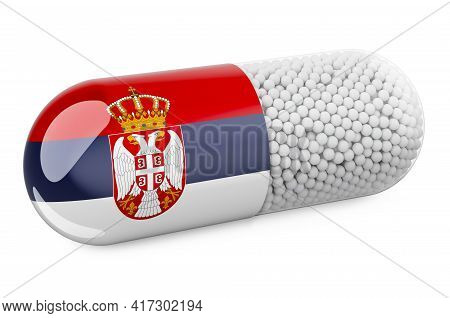 Pill Capsule With Serbian Flag. Healthcare In Serbia Concept. 3d Rendering Isolated On White Backgro