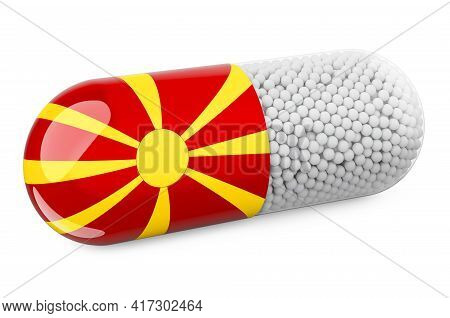 Pill Capsule With Macedonian Flag. Healthcare In Macedonia Concept. 3d Rendering Isolated On White B