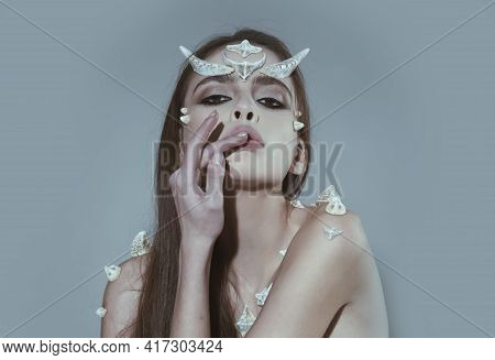 Devil Woman With Spikes On Skin And Horns On Head, Halloween Costume, Creative Make-up. Tender Girl