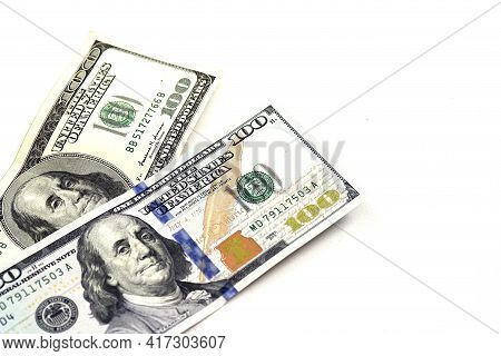100 American Dollars, American Dollar, Money Market And 100 Us Dollars On A White Background,
