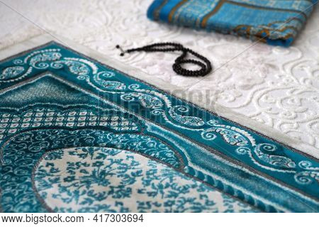 Praying On The Prayer Rug, Which Is The Prayer Rug Of Muslims, On The Prayer Rug.