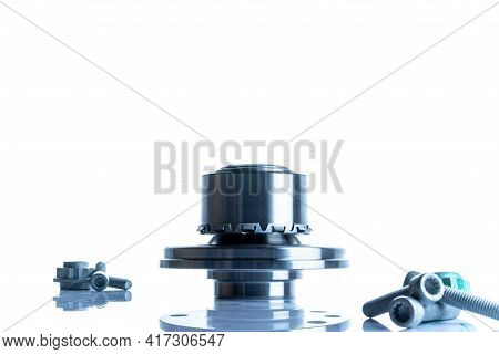 Spare Parts. Auto Motor Mechanic Spare Or Automotive Piece On White Background. Set Of New Metal Car