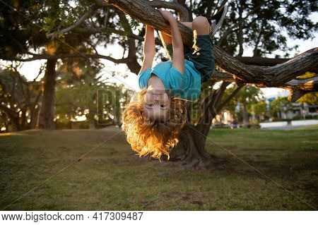 Child On A Tree. Insurance Kids. Health Care Insurance Concept For Kids. Medical Healthcare Protecti