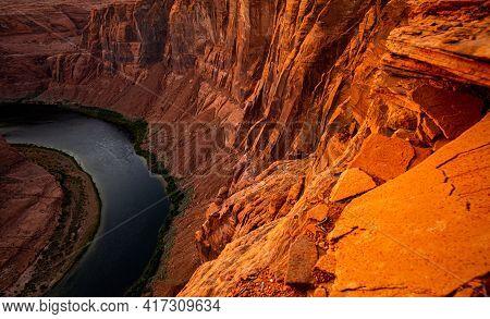 Canyon. Horse Shoe Bend On Colorado River. Scenic Horseshoe Bend Canyon On Colorado River In Arizona