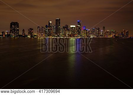 Miami City Night. Panoramic View Of Miami At Sunset, Night Downtown.