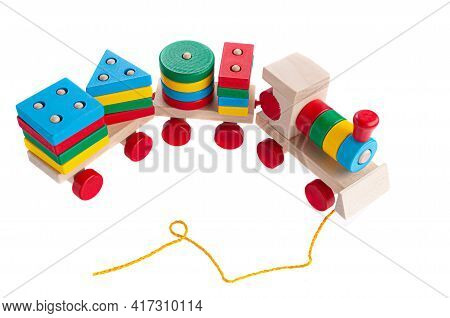 Train With Carriages Made Of Wood On A Rope. Sorter Game For Children. Educational Toy Montessori. W