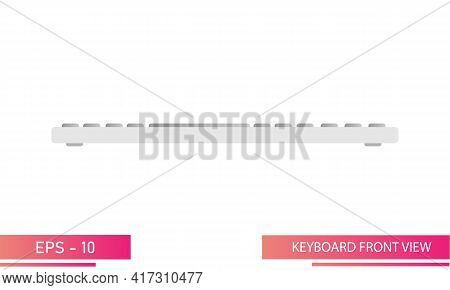 Light - Colored Keyboard In Gradient Design, Front View. Realistic Design. On A White Background. De