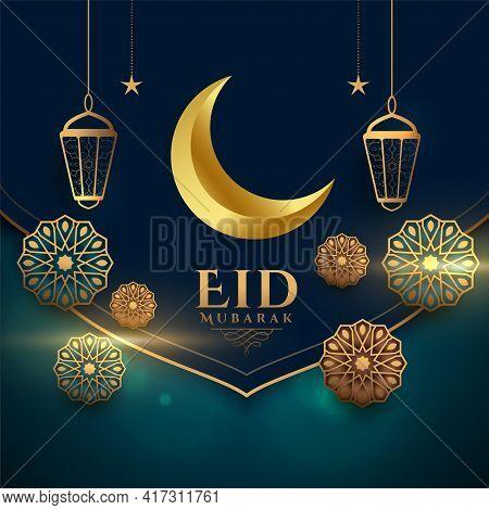 Realistic Eid Mubarak Festival Decorative Card Design