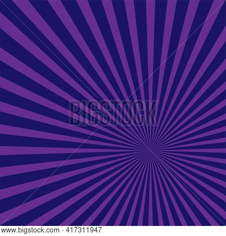 Sunlight Retro Bright Background. Purple And Violet Color Burst Background. Fantasy Vector Illustrat