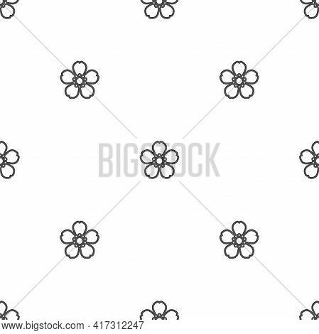 Seamless Jasmine Flower Pattern. Black Flat Flowers On White Background. Vector Symmetric Illustrati