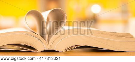 Book Heart And Valentine, Close Up Page Of Book In Heart Shape At Library Of Love To Read And Readin