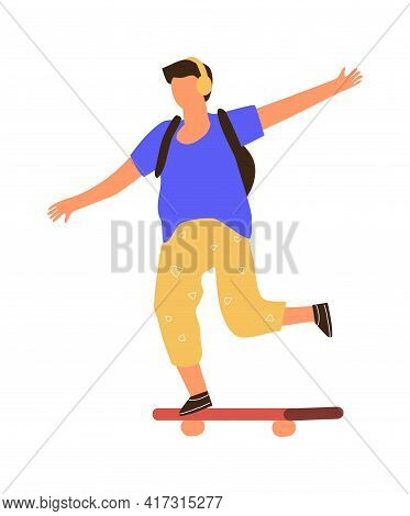 Man On Skateboard. Cartoon Boy Riding Board. Young Male Listening To Music With Headphones. Teenager