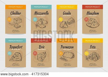 Cheese Posters. Gourmet Food Vintage Sketch. Organic Cheesy Snacks Menu Design. Farm Dairy Products