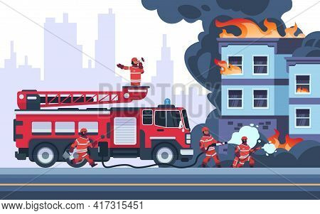 Fire Building. Firemen Extinguish Burning House. Emergency Workers Put Out Flame. Firefighters Weari