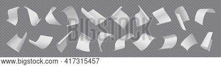 Paper Sheets. Flying Blank Document Pages. Realistic Falling Notes Set On Transparent Background. 3d