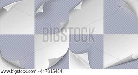 Curled Page. Realistic Folded Paper Corners, 3d Curve Sticker Edge Effect. Turn Sheets Templates Set