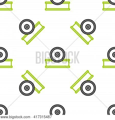 Line Otolaryngological Head Reflector Icon Isolated Seamless Pattern On White Background. Equipment