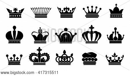 Crown Black Icons. Royal Princess Or Prince Symbol Silhouette, King And Queen Monarch Logo Collectio