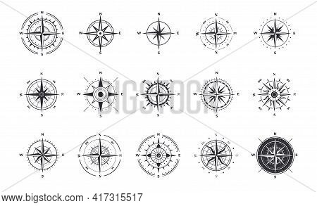 Compass Icons. Wind Rose With North Orientation, Sea Navigational Equipment Antique Symbols. Cartogr