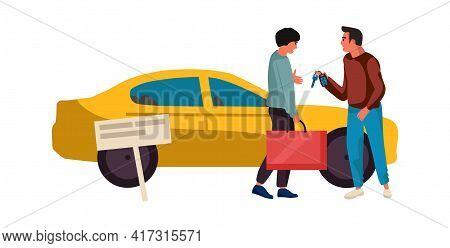 Sale Or Rent Automobile. Agent Sells Vehicle. Dealer Gives Key To New Auto Owner. Car Sharing Servic