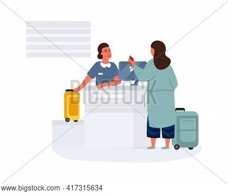 Woman In Airport. Female Check-in Before Departure. Passenger Hands Over Luggage And Boarding Airpla