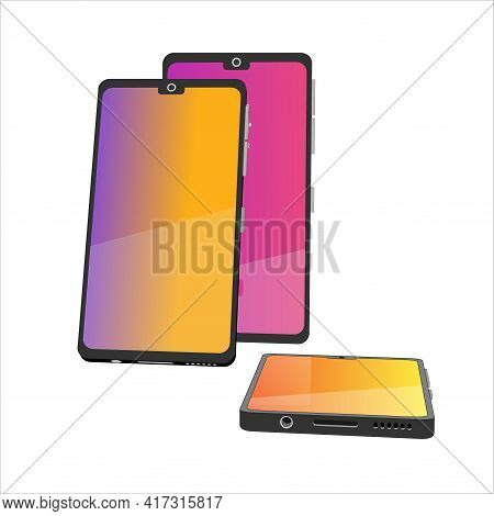 Group Of 3D Models Cell Phones. Smartphones In Front View. 3D Models Elements For Your Design In Vec