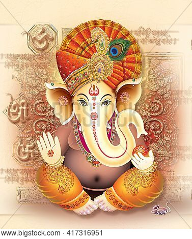 Indian God Ganesha, Indian Lord Ganesh, Indian Mythological Image Of Ganesha.