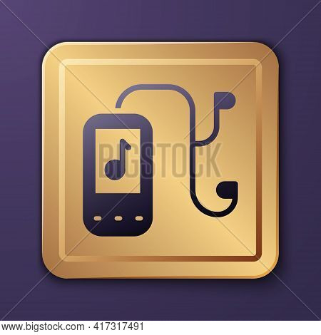 Purple Music Player Icon Isolated On Purple Background. Portable Music Device. Gold Square Button. V