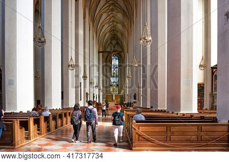 Munich, Germany - September 12, 2018: Interior Of The Cathedral Of Our Lady Frauenkirche.