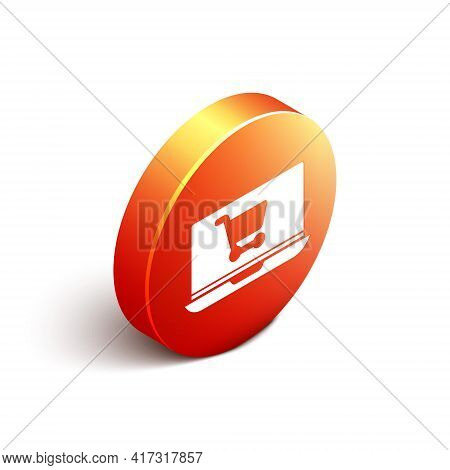 Isometric Shopping Cart On Screen Laptop Icon Isolated On White Background. Concept E-commerce, E-bu
