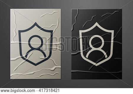 White User Protection Icon Isolated On Crumpled Paper Background. Secure User Login, Password Protec