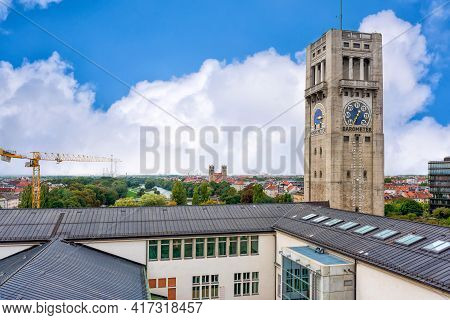 Munich, Germany - September 12, 2018: A View Of The Deutsches Museum Weather Tower Station With A Ba