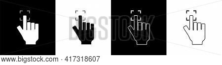 Set Fingerprint Icon Isolated On Black And White Background. Id App Icon. Identification Sign. Touch