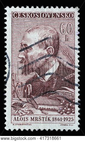 ZAGREB, CROATIA - SEPTEMBER 18, 2014: Stamp printed in Czechoslovakia shows Alois Mrstik, (1861-1925), painter, Culture and Science Personalities series, circa 1961